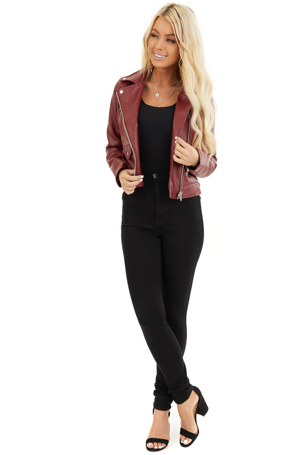 Maroon Faux Leather Jacket with Asymmetrical Details front full body