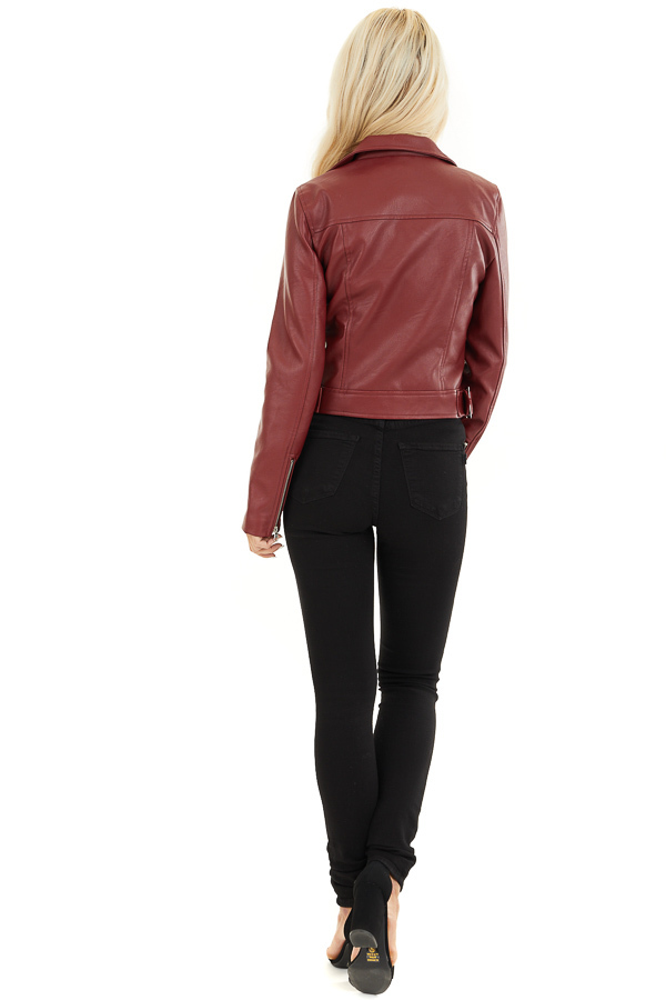 Maroon Faux Leather Jacket with Asymmetrical Details back full body