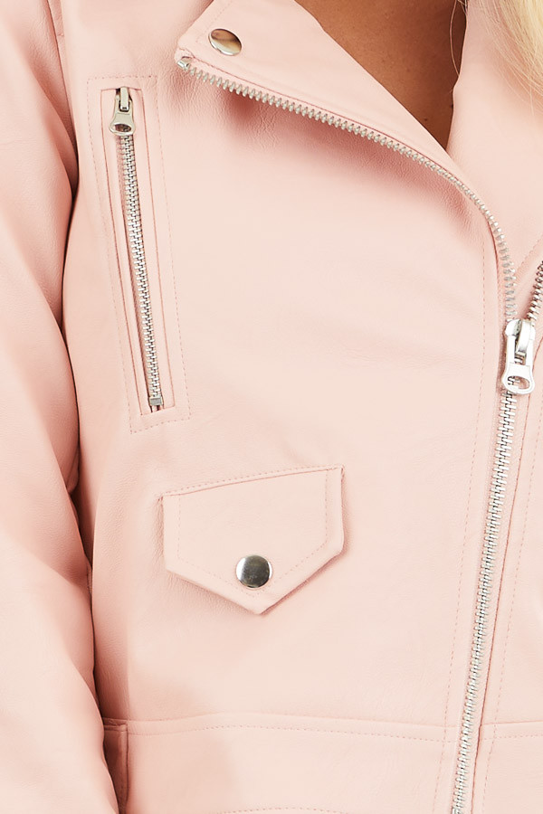 Baby Pink Faux Leather Jacket with Asymmetrical Details detail