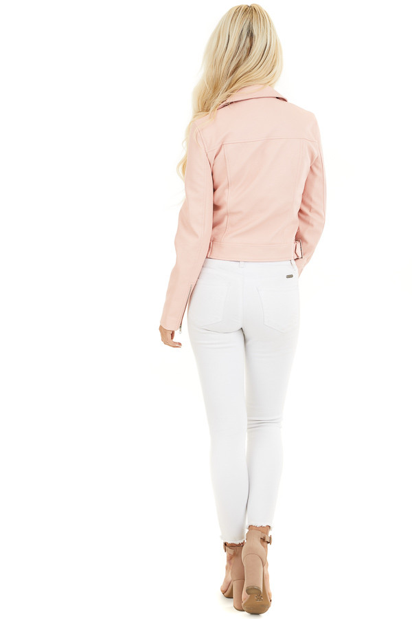 Baby Pink Faux Leather Jacket with Asymmetrical Details back full body