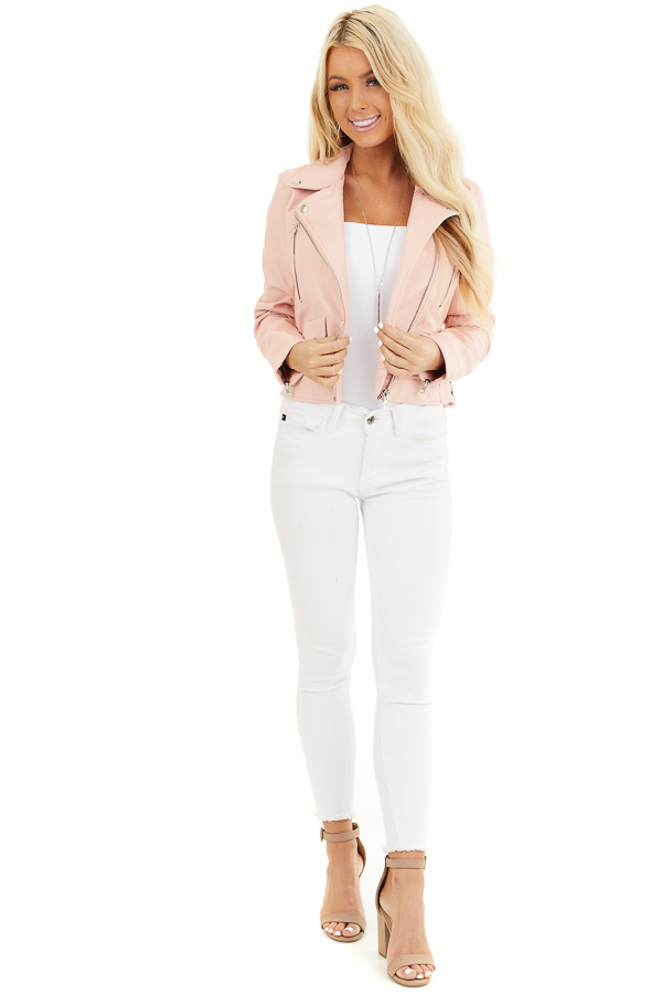 Baby Pink Faux Leather Jacket with Asymmetrical Details front full body