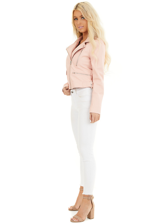 Baby Pink Faux Leather Jacket with Asymmetrical Details side full body