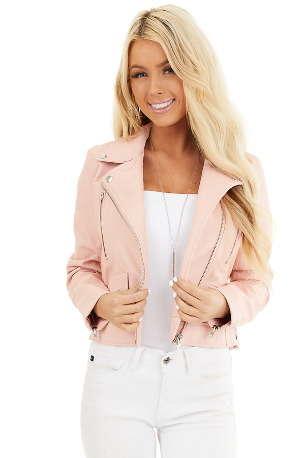 Baby Pink Faux Leather Jacket with Asymmetrical Details front close up