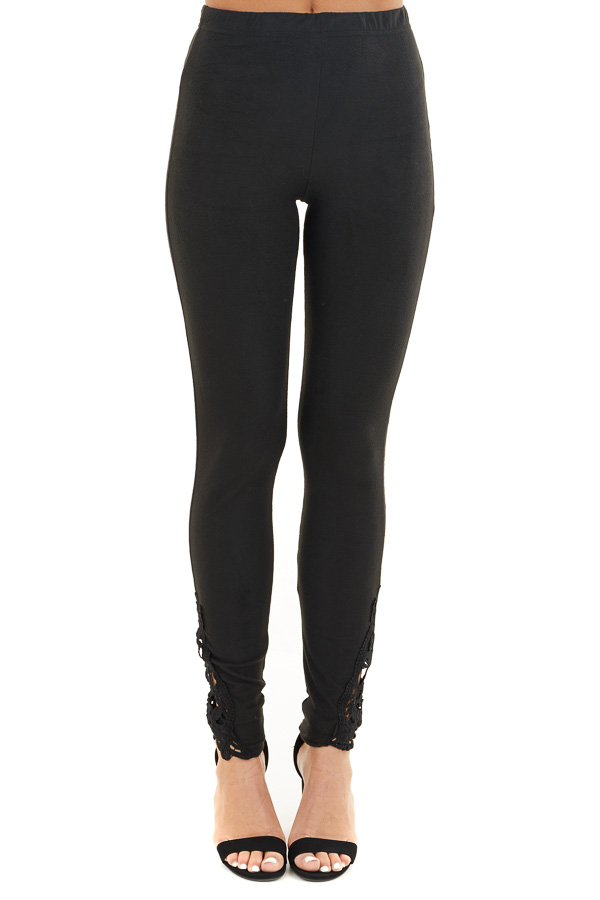 Black High Waisted Leggings with Sheer Lace Details front view