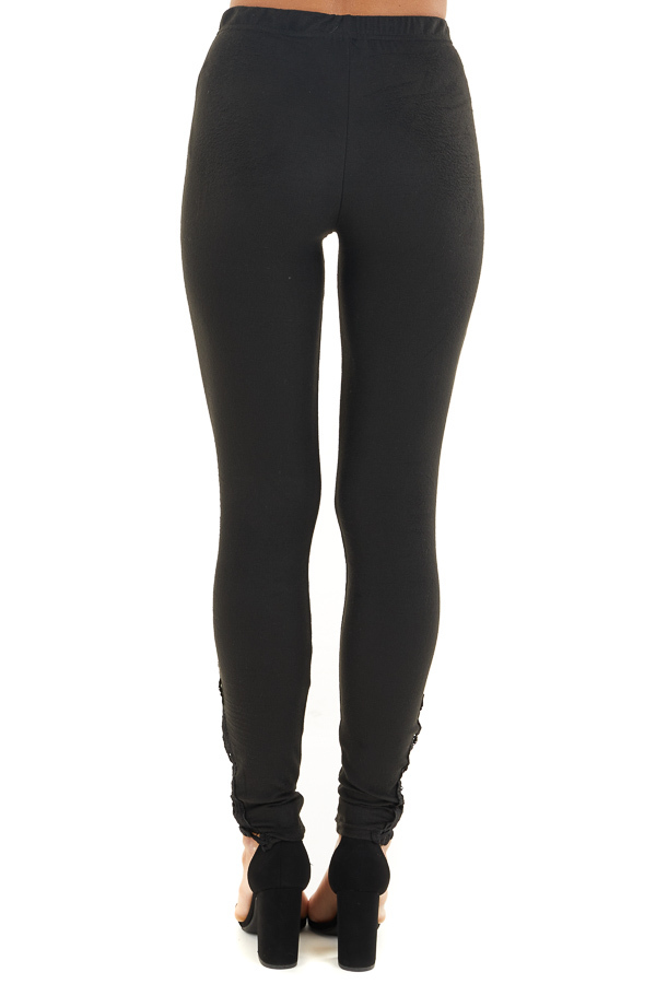 Black High Waisted Leggings with Sheer Lace Details back view