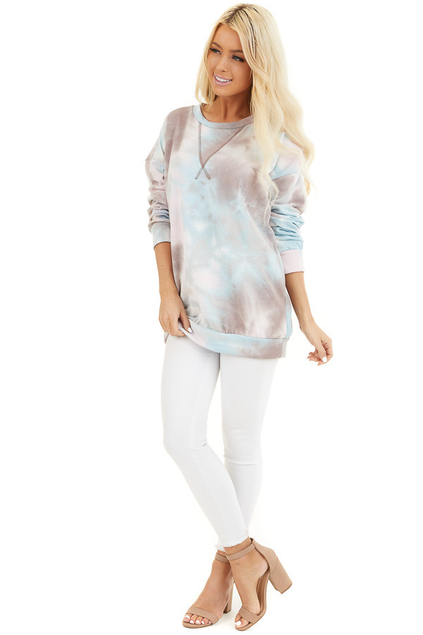 Mocha Sky Blue and Blush Tie Dye Long Sleeve Sweater Top front full body