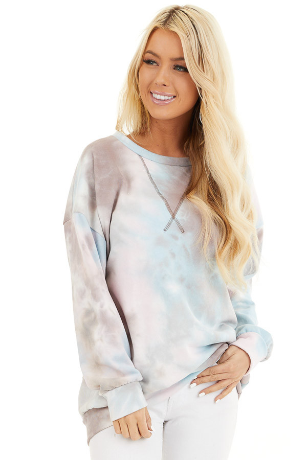 Mocha Sky Blue and Blush Tie Dye Long Sleeve Sweater Top front close up