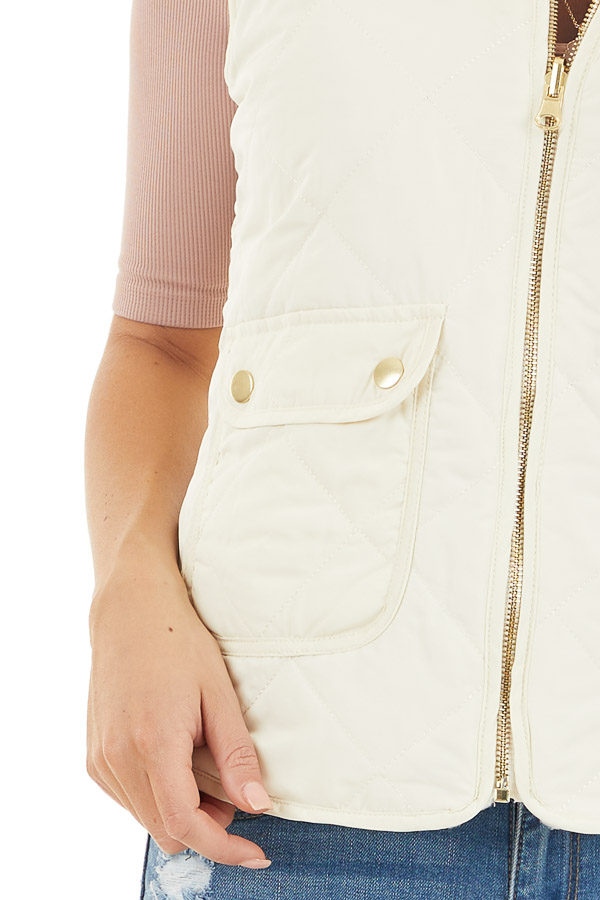 Cream Soft Quilted Reversible Vest with Pockets detail