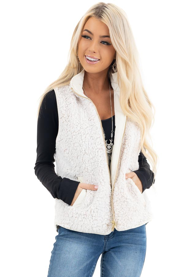 Cream Soft Quilted Reversible Vest with Pockets front close up