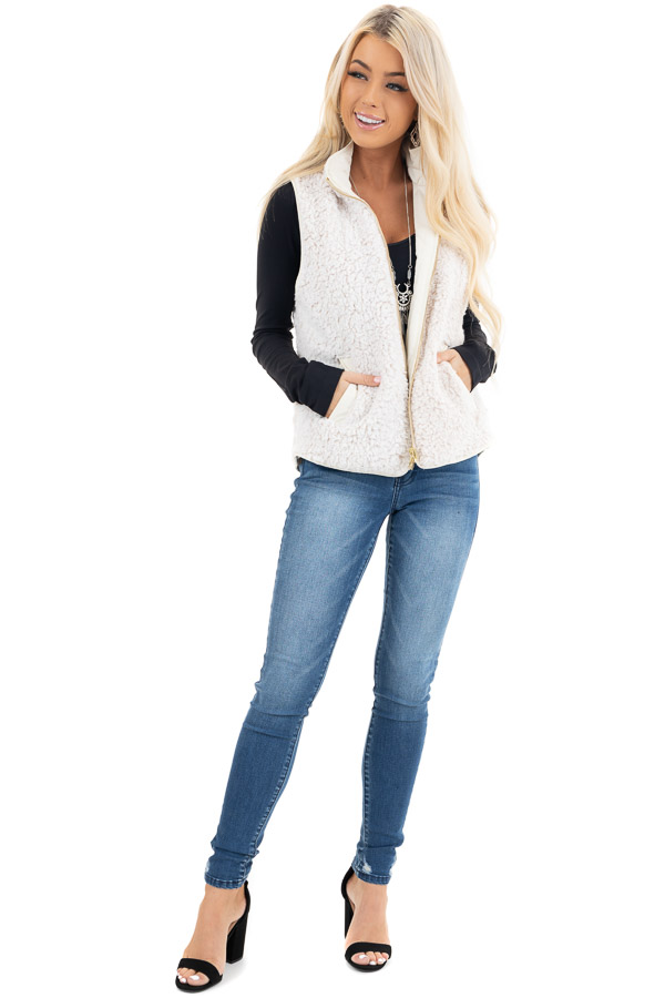 Cream Soft Quilted Reversible Vest with Pockets front full body