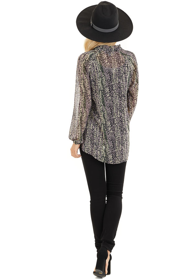 Black and Lavender Sheer Printed Blouse with Front Tie back full body