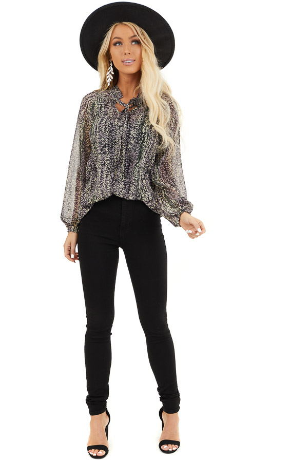 Black and Lavender Sheer Printed Blouse with Front Tie front full body