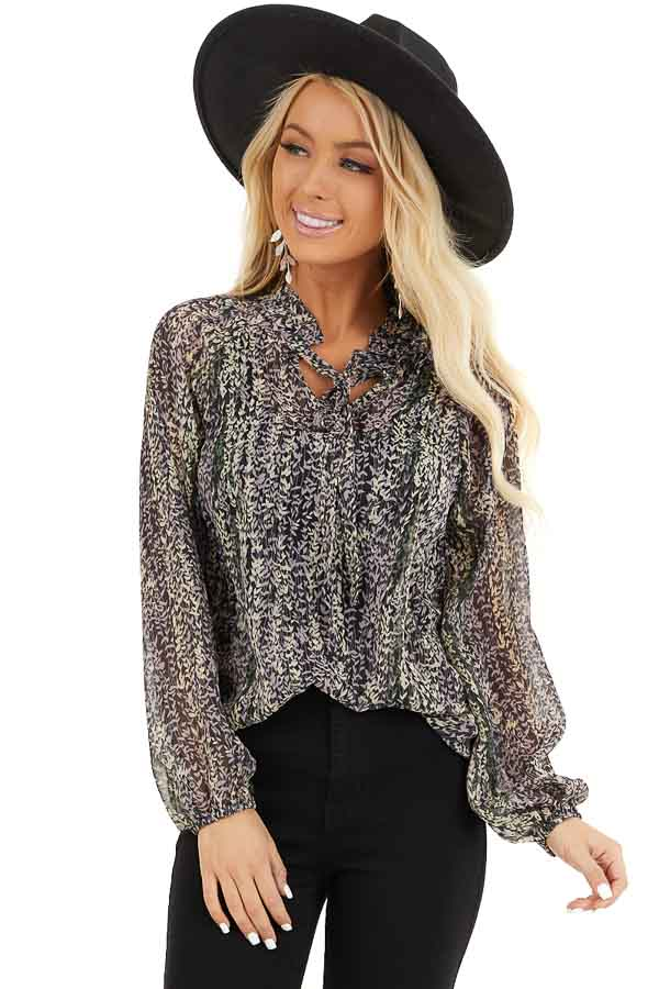 Black and Lavender Sheer Printed Blouse with Front Tie front close up