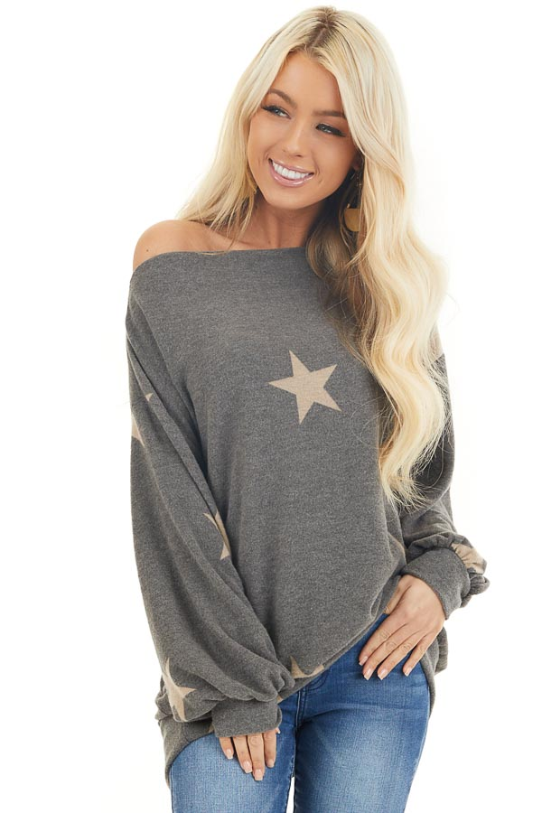 Stone and Latte Star Print Sweater Top with Boat Neck front close up