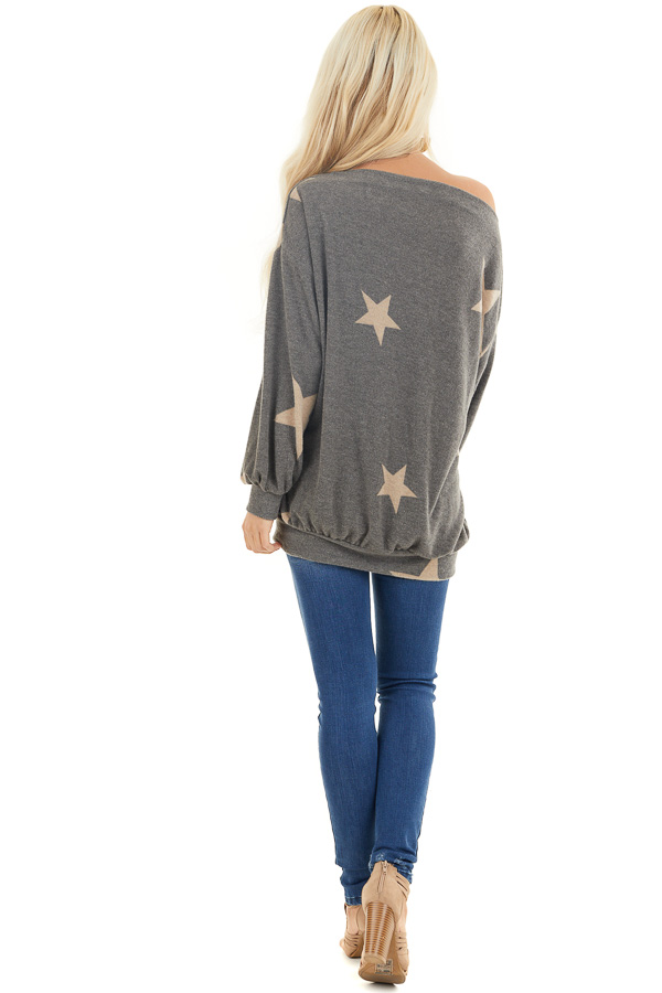 Stone and Latte Star Print Off the Shoulder Sweater Top back full body