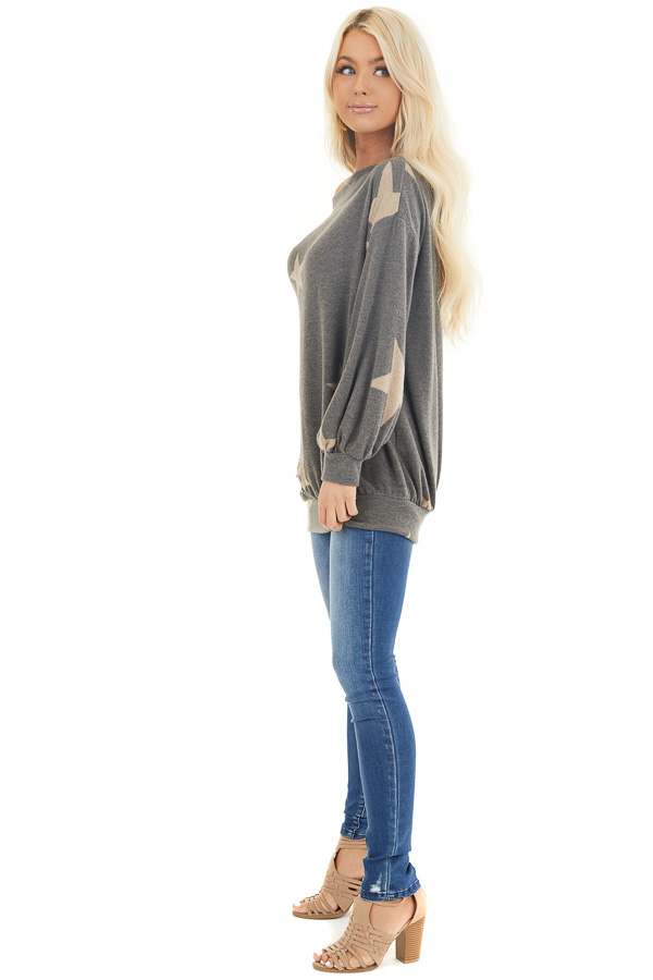 Stone and Latte Star Print Sweater Top with Boat Neck side full body