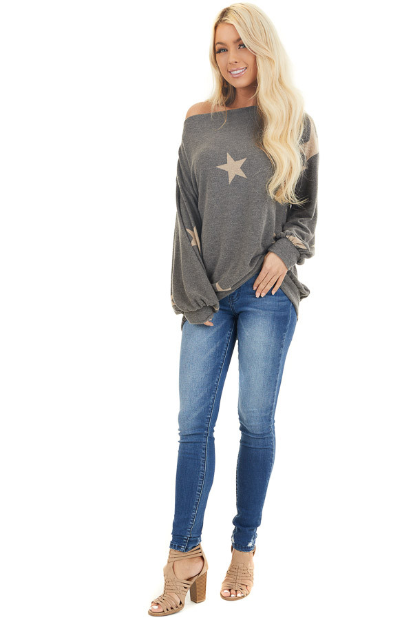 Stone and Latte Star Print Sweater Top with Boat Neck front full body