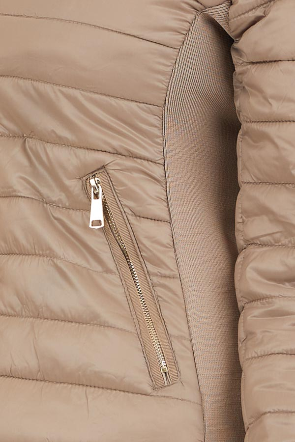 Latte Shiny Puffy Jacket with Ribbed Knit Contrast detail