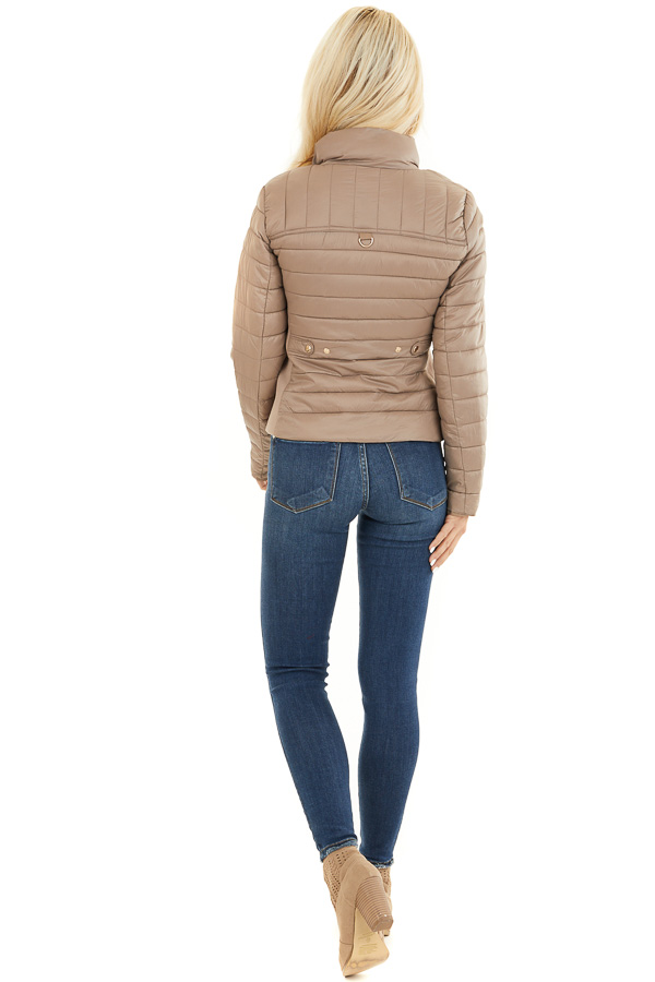 Latte Shiny Puffy Jacket with Ribbed Knit Contrast back full body