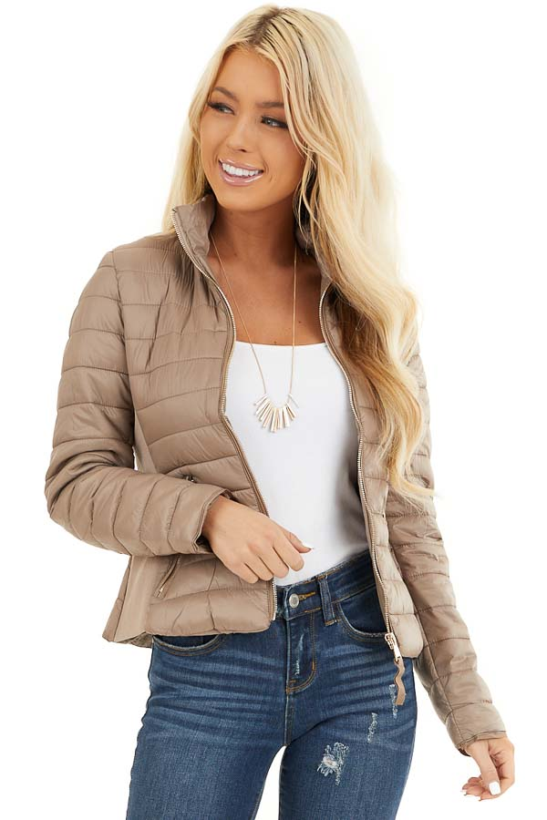 Latte Shiny Puffy Jacket with Ribbed Knit Contrast front close up