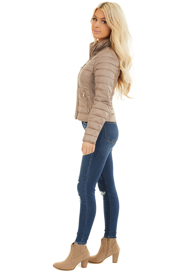 Latte Shiny Puffy Jacket with Ribbed Knit Contrast side full body