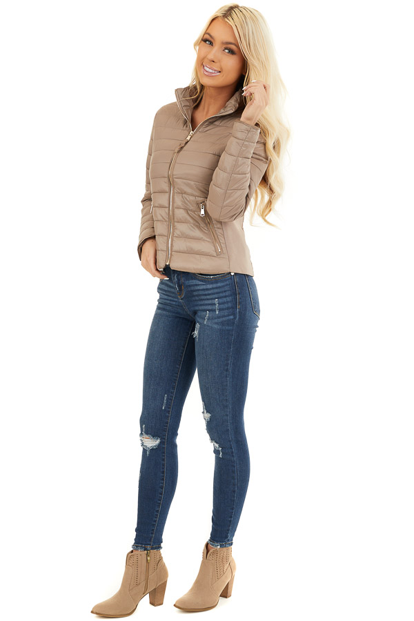 Latte Shiny Puffy Jacket with Ribbed Knit Contrast front full body