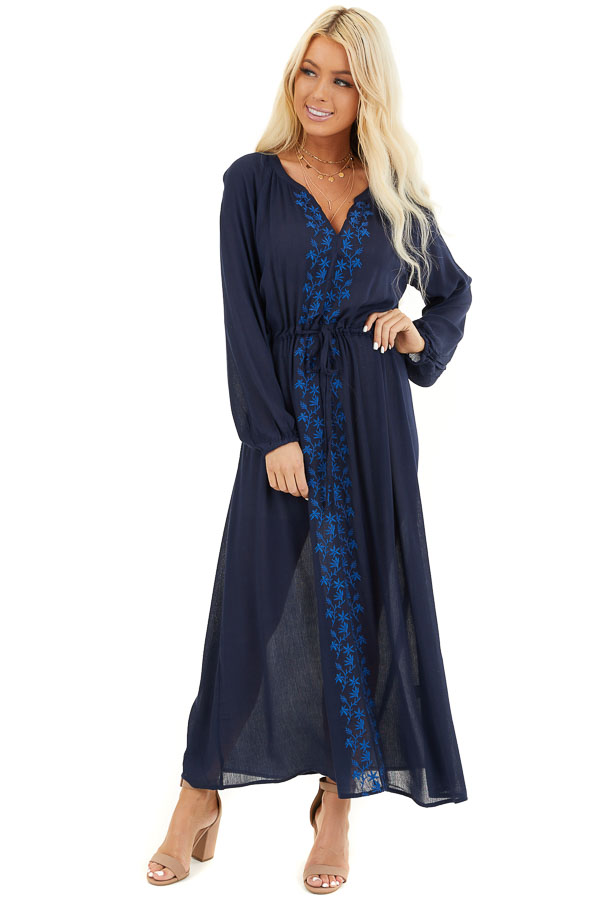 Navy Blue Maxi Dress with Embroidered Details front full body