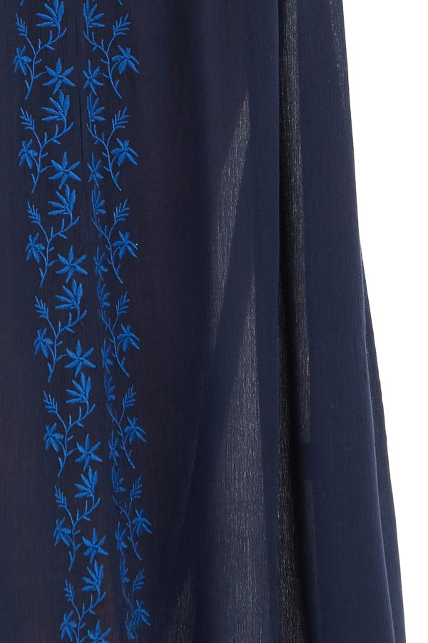 Navy Blue Maxi Dress with Embroidered Details detail