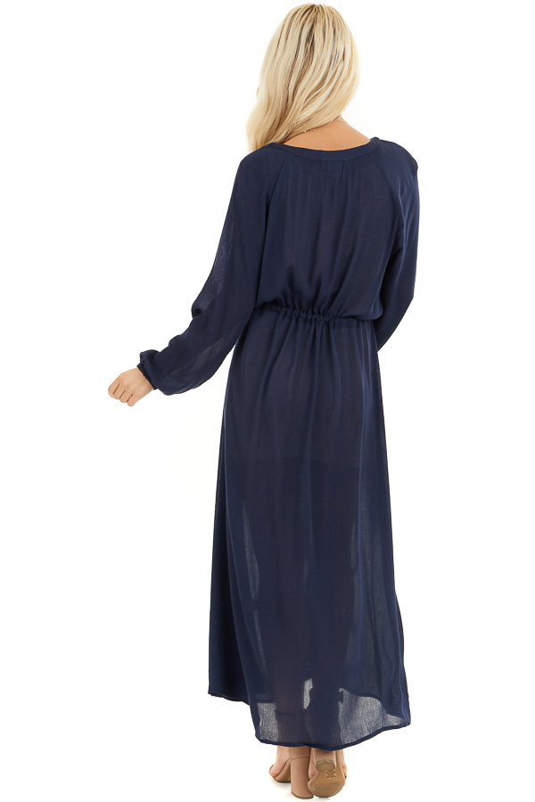 Navy Blue Maxi Dress with Embroidered Details back full body