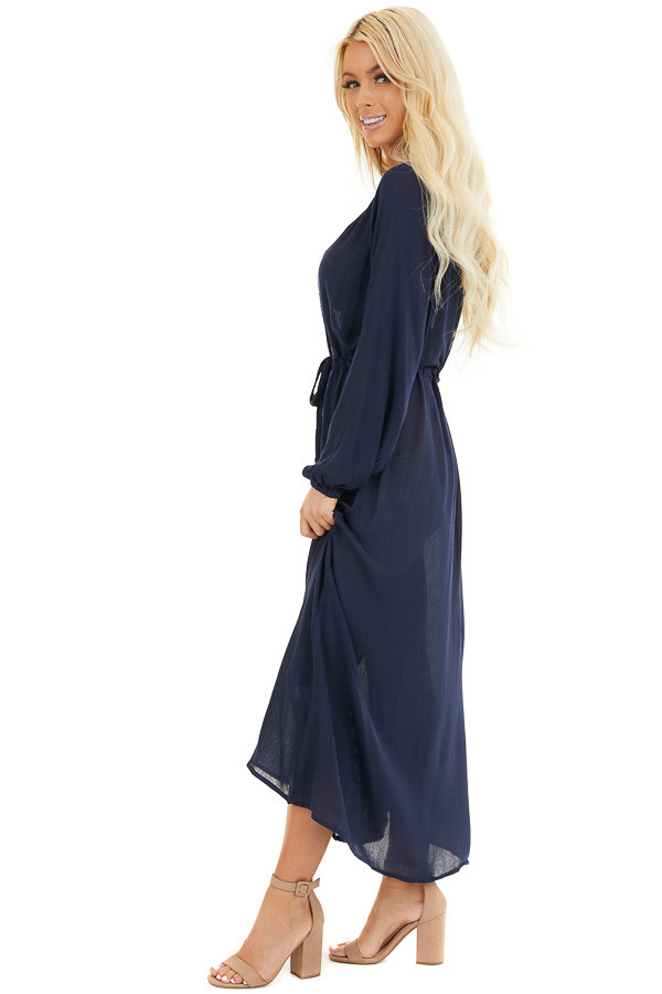 Navy Blue Maxi Dress with Embroidered Details side full body