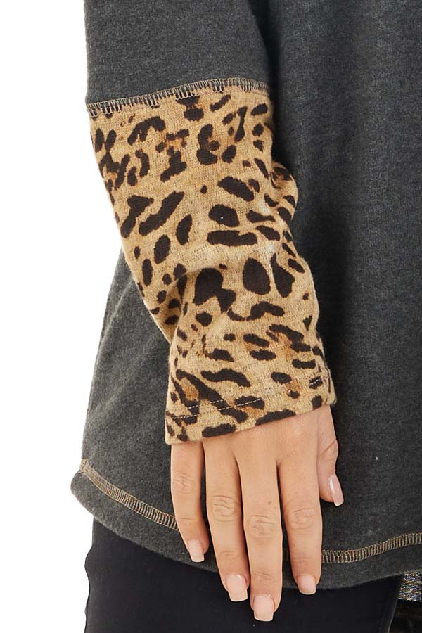 Charcoal Long Sleeve Top with Beige Leopard Print Contrast detail