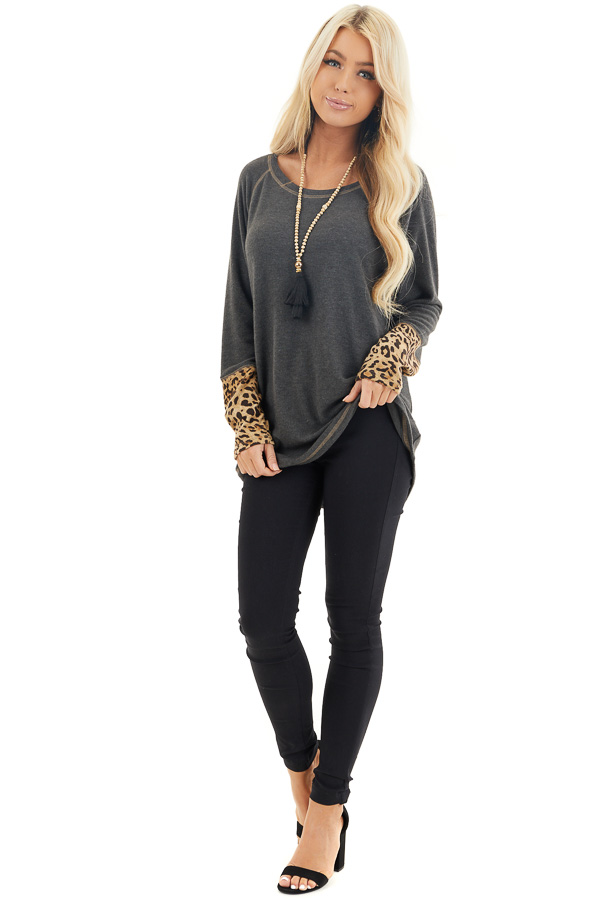 Charcoal Long Sleeve Top with Beige Leopard Print Contrast front full body