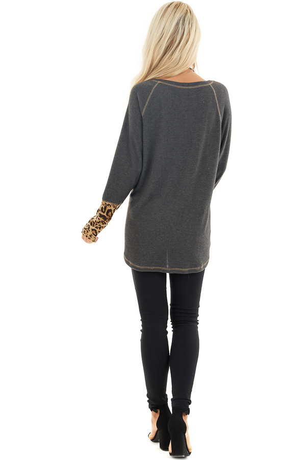 Charcoal Long Sleeve Top with Beige Leopard Print Contrast back full body