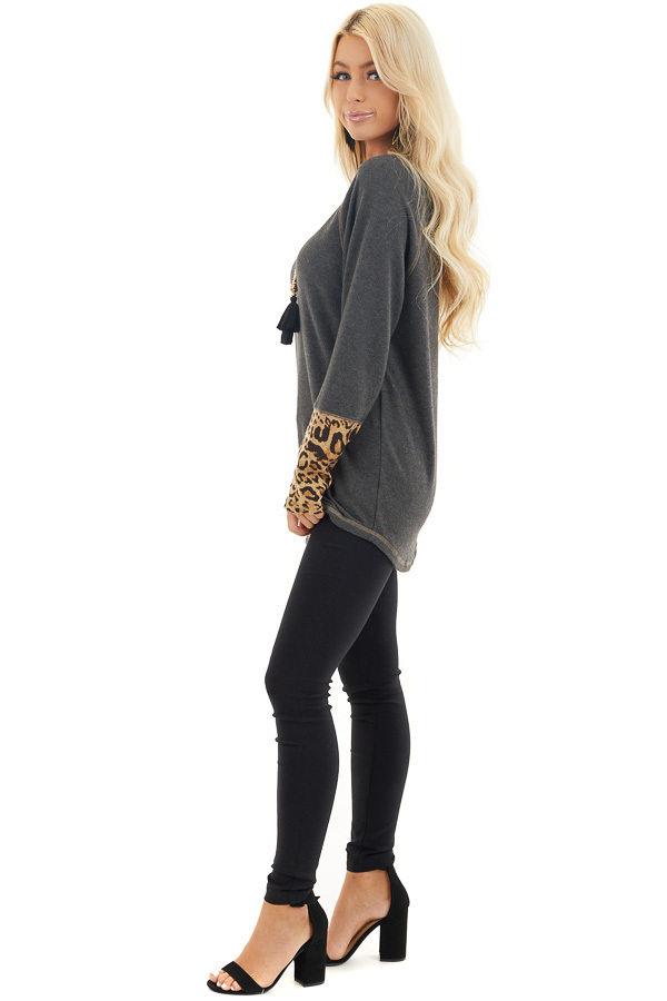 Charcoal Long Sleeve Top with Beige Leopard Print Contrast side full body