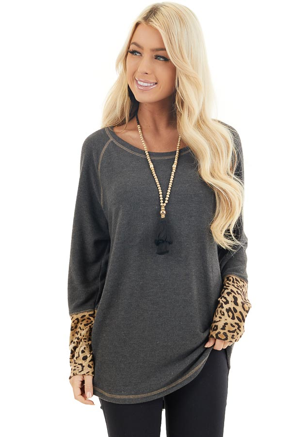 Charcoal Long Sleeve Top with Beige Leopard Print Contrast front close up