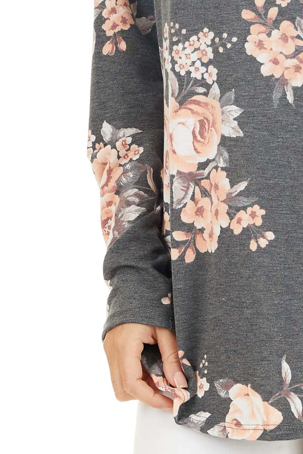 Charcoal and Peach Floral Print Long Sleeve V Neck Top detail