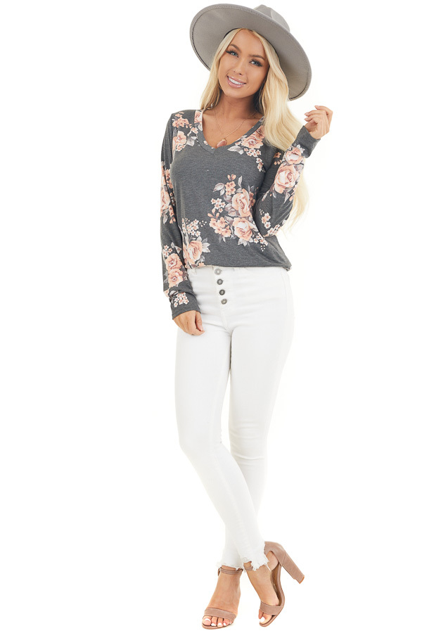 Charcoal and Peach Floral Print Long Sleeve V Neck Top front full body