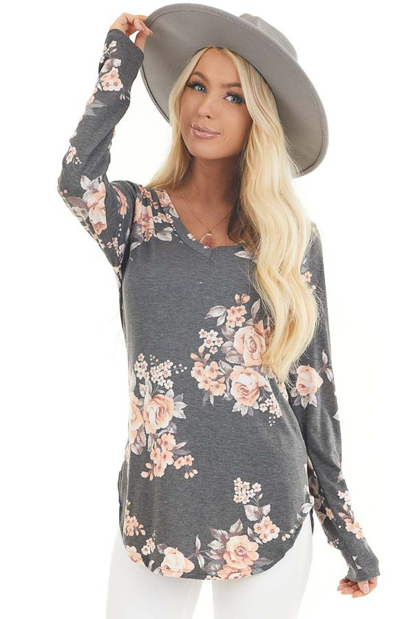 Charcoal and Peach Floral Print Long Sleeve V Neck Top front close up