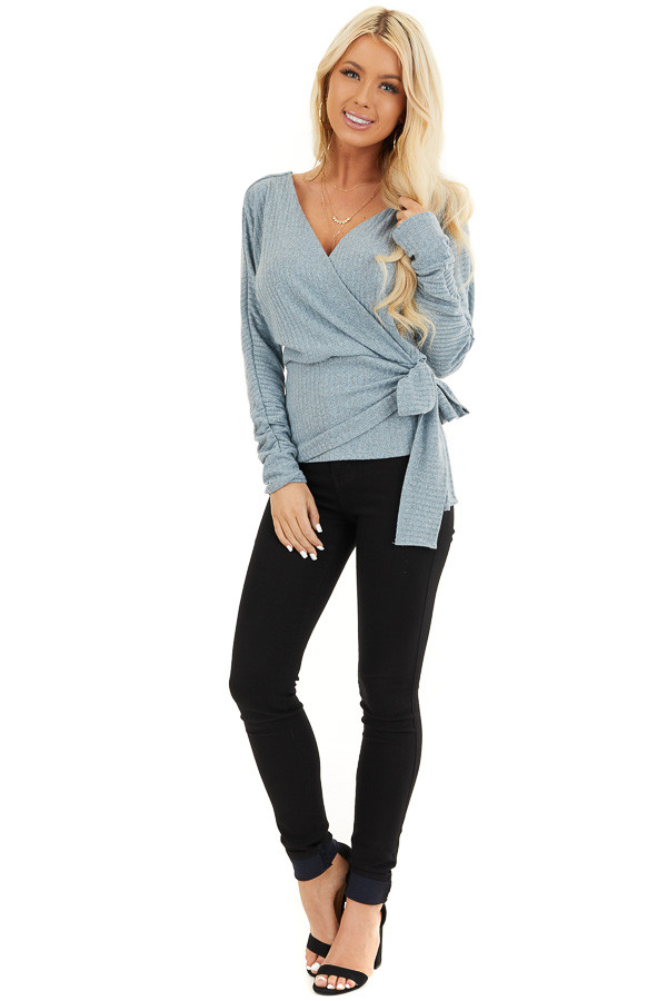 Slate Grey Surplice Knit Sweater Top with Side Tie Detail front full body