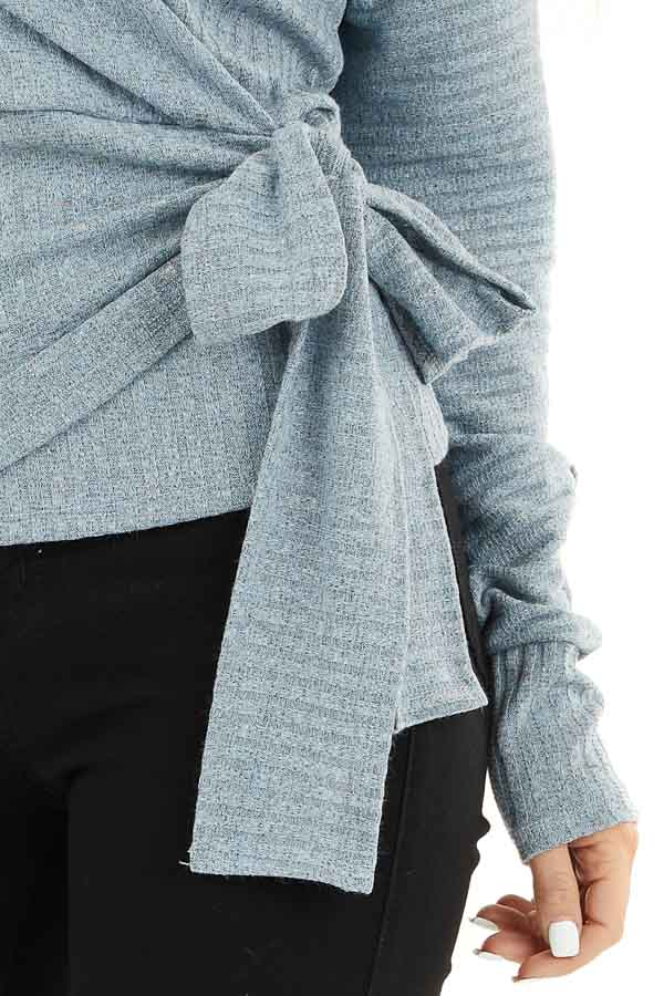 Slate Grey Surplice Knit Sweater Top with Side Tie Detail detail
