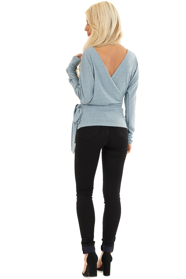 Slate Grey Surplice Knit Sweater Top with Side Tie Detail back full body