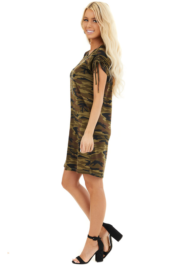 Olive Green Camo Print Dress with Short Ruched Tie Sleeves side full body