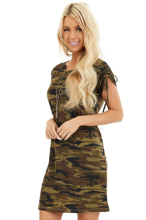 Olive Green Camo Print Dress with Short Ruched Tie Sleeves front close up