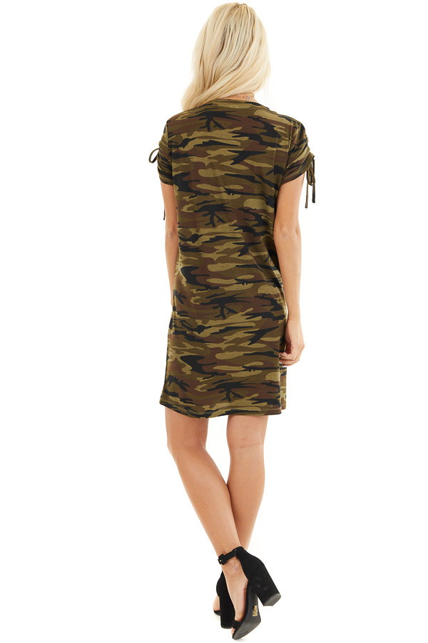 Olive Green Camo Print Dress with Short Ruched Tie Sleeves back full body