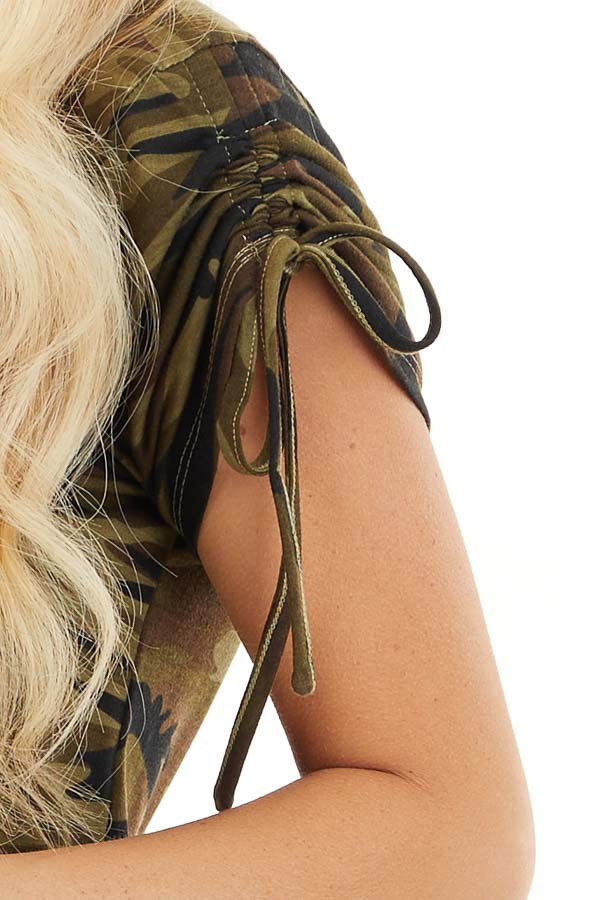 Olive Green Camo Print Dress with Short Ruched Tie Sleeves detail