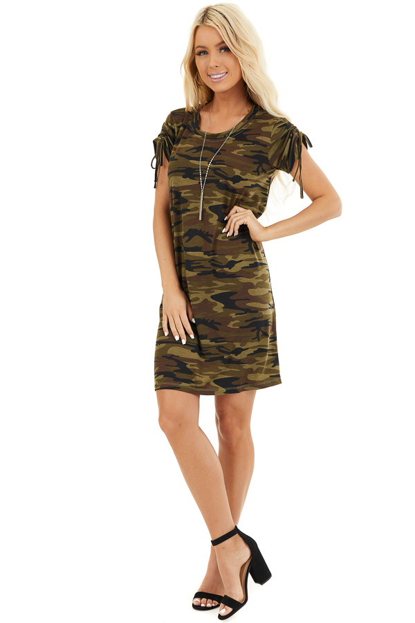 Olive Green Camo Print Dress with Short Ruched Tie Sleeves front full body