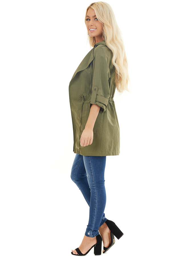 Olive Lightweight Hooded Jacket with Cinch Waist Detail side full body