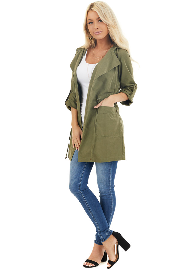 Olive Lightweight Hooded Jacket with Cinch Waist Detail front full body