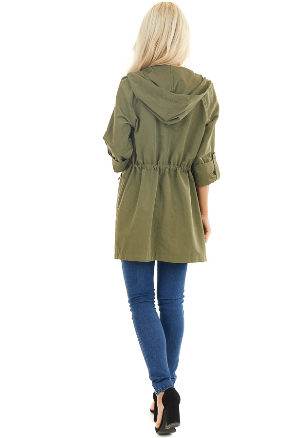 Olive Lightweight Hooded Jacket with Cinch Waist Detail back full body
