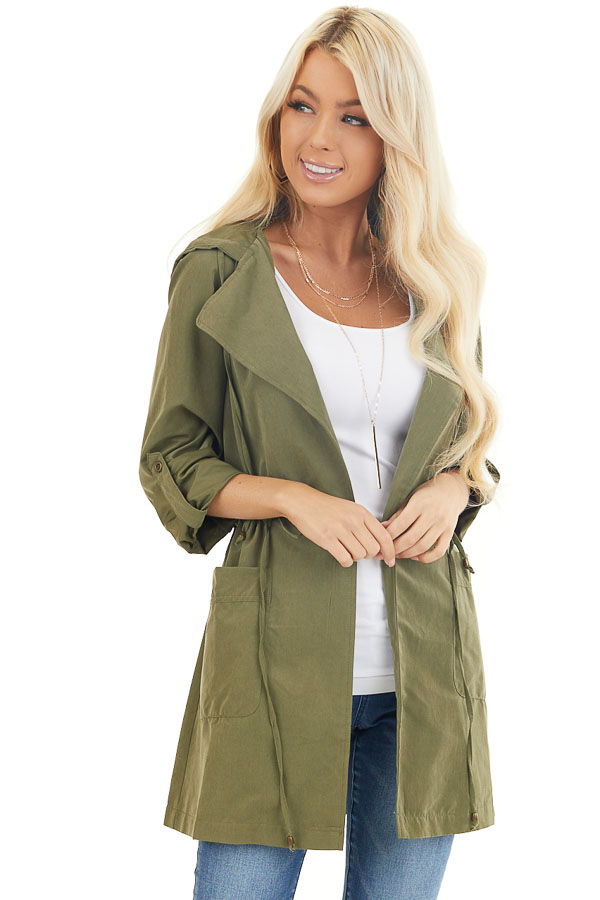 Olive Lightweight Hooded Jacket with Cinch Waist Detail front close up